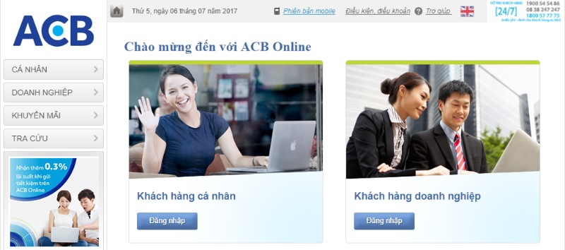 Giao diện ứng dụng ACB online
