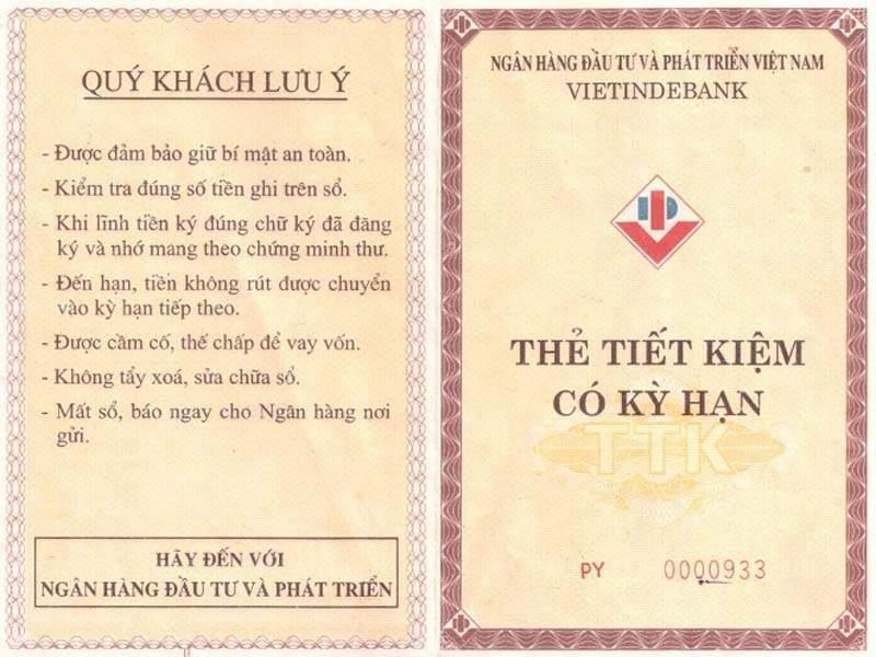 Sổ tiết kiệm BIDV là cuốn sổ giữ tiền của khách hàng ở Ngân hàng Đầu tư và Phát triển Việt Nam
