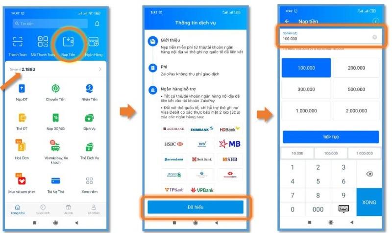 Nạp tiền trực tiếp trên App Zalo Pay dễ dàng, tiện lợi