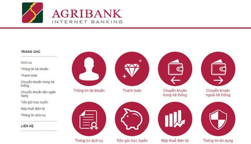 Giao diện Internet Banking của Agribank