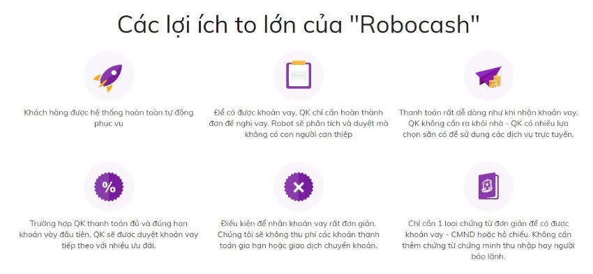 Ưu điểm khi vay online Robocash