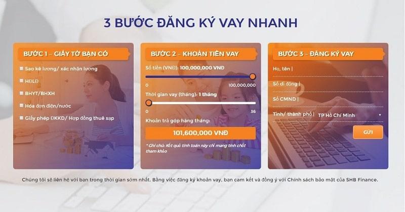 Các bước đăng ký vay tiền online tại SHB Finance